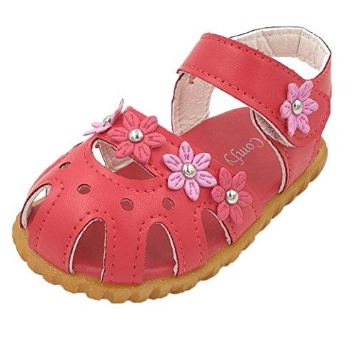 Chaussures de bébé,Fulltime® Kids filles causale été plat fleur fond mou sandale Shoes Pastèque rouge