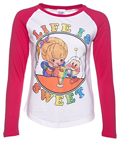 Womens Rainbow Brite Life Is Sweet White And Hot Pink Raglan Baseball Tee (Tee Pink Baseball)