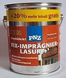 3 L PNZ Fix Imprägnierlasur / Holzschutzlasur 2 in 1 , schützt Ihr Holz gegen Schimmelpilze u. Bläue, enthält einen Holzschutzgrund, Farbton Nussbaum