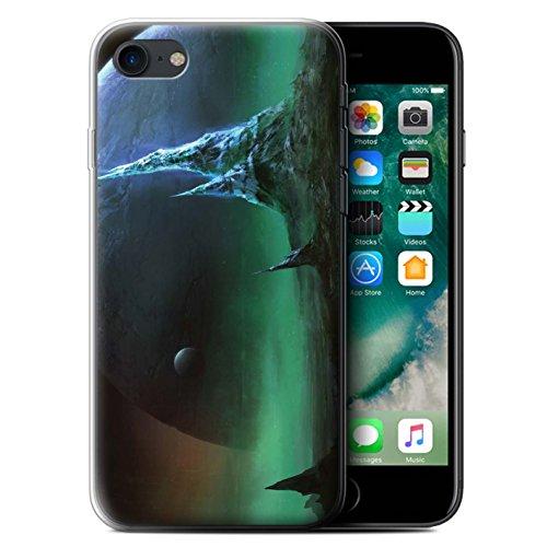 Offiziell Chris Cold Hülle / Gel TPU Case für Apple iPhone 7 / Chaos Entfesselt Muster / Fremden Welt Kosmos Kollektion Saphir Spitzen