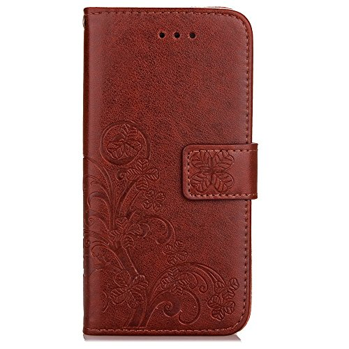 Wkae Case Cover Prime PU Case en cuir Wallet Avec Cash Card slot Case motif en relief Fleurs Lucky Clover Support Cover pour Apple iPhone 7 ( Color : Blue , Size : IPhone 7 ) Brown