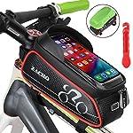 Zacro-Borsa-Telaio-Bici-Borsa-da-Bicicletta-Impermeabile-Touch-Screen-Bicicletta-Manubrio-Anteriore-Borsa-Bici-con-Parasole-Telefono-Cuffie-Foro-per-sotto-6-Telefono