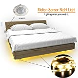 LiZhi Bewegung aktiviert Bett Licht,1.2M Flexible LED Streifenlicht Auto Ein/Aus Bewegungsmelder Nachttischlampe,LED-Lichtleiste (Doppelt Streifen)