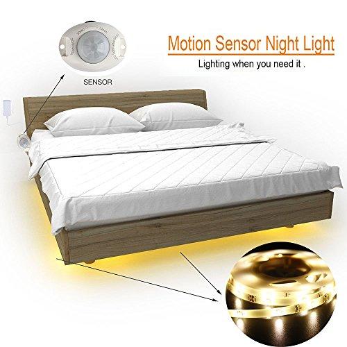 LiZhi Bewegung aktiviert Bett Licht,1.2M Flexible LED Streifenlicht Auto Ein/Aus Bewegungsmelder Nachttischlampe,LED-Lichtleiste (Single Streifen) (Bewegungs-sensor-led-streifen)