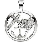 JOBO Anhänger Glaube Liebe Hoffnung 925 Silber mit Zirkonia Silberanhänger