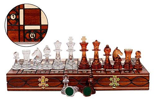 Fantastisches AMBER 40cm / 16in Holz Schachspiel. Lichtdurchlässige PlastikStaunton-Schachfiguren auf hölzernem faltendem Schachbrett