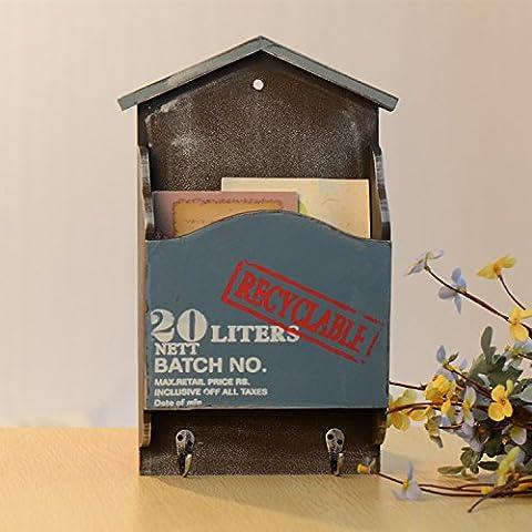 SU@DA Villa flor Retro de madera ollas carta pared adornos decorativos almacenamiento caja 2PCS , blue with hooks
