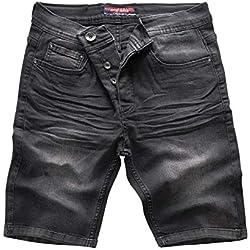 Rock Creek Pantalones Cortos Denim Pantalones Cortos Pantalones Cortos Hombres Pantalones Cortos Jeans Pantalones de Verano Stretch Bermuda Pantalones Gris RC-2202 Revogrey W30