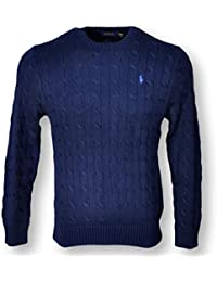 POLO RALPH LAUREN BLUE CABLE KNIT JUMPER UK LARGE