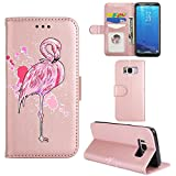 Case for Samsung Galaxy S8 Plus(6.2 inches),Slynmax Ultra Slim Lightweight Bookstyle Glitter Flamingo Design Flip Phone Cover Folio Premium PU Leather Case with Stand Function Credit Card Holder Cash Pocket Magnetic Closure Durable Shockproof Protective TPremium PU Inner Smart Shell for Samsung Galaxy S8 Plus+ 1* Stylus Pen
