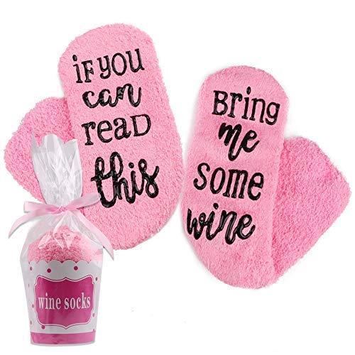 """Hootracker Luxuriöse Wein-Socken mit Muffin-Geschenk-Verpackung Weinliebhaber, If You can Read This Bring me Wine\"""" - Lustiges Wein-Zubehör für Frauen(Wine,pink)"""