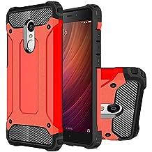 Hongmi Note4 Funda, HICASER Híbrida Case [Heavy Duty] Rugged Armor Cover, Dual Layer Shock Resistant Carcasa para Xiaomi Redmi Note 4 Rojo