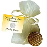 EnerChrom Blume des Lebens Glücksmünze - Nur für Dich - 3 Stück - Farbe Gold - Glücksbringer Lebensblume Talisman Münze