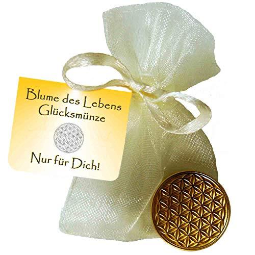 EnerChrom Blume des Lebens Glücksmünze - Nur für Dich - 1 Stück - Farbe Gold - Glücksbringer Lebensblume Talisman Münze -