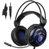 SADES SA805 Auriculares para juegos PS4 PlayStation 4 auriculares para auriculares con micrófono para múltiples plataformas Xbox One / PC / PS4 con control de volumen (negro azul)