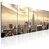 murando - Bilder New York 200x80 cm - Leinwandbilder - Fertig Aufgespannt - 5 Teilig - Wandbilder XXL - Kunstdrucke - Wandbild - Skyline NYC Stadt City Manhattan d-B-0081-b-n