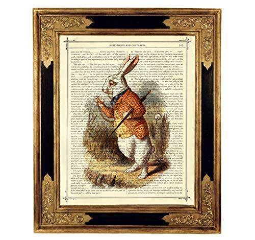 Alice im Wunderland weißes Kaninchen Hase Taschenuhr Poster Kunstdruck auf antiker Buchseite Geschenk Steampunk Bild ungerahmt