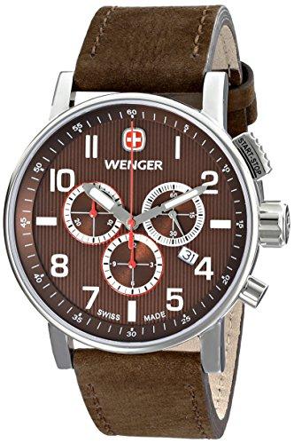 Wenger 011243102 - Reloj de pulsera hombre, piel, color marrón