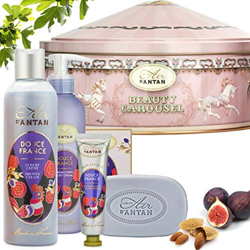 Un Air d\'Antan® Französisches Beauty Pflege Set DOUCE Weihnachtsgeschenk. 1 Handcreme 25ml + 1 Seife 100g + 1 Duschgel 250ml + 1 Bodylotion 200ml in einem Vintage Metallbox. Duft: Mandel, Feige