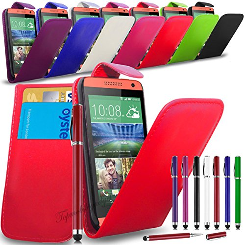 Apple iPhone 6 Plus - Leder Flip Hülle Tasche + 2 in 1 Stylus Pen + Screen Protector & Poliertuch ( Hot Pink ) Red