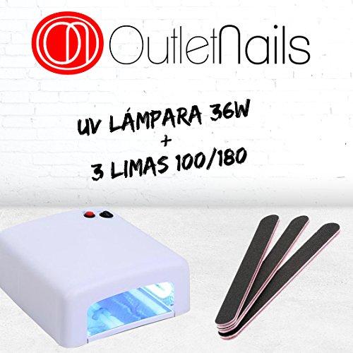 UV Lampara 36W para uñas de gel + 3 Limas para uñas de Regalo / Lámpara 36W Ultravioleta / Ideal para uñas / Esmaltado Permanente / Shellac