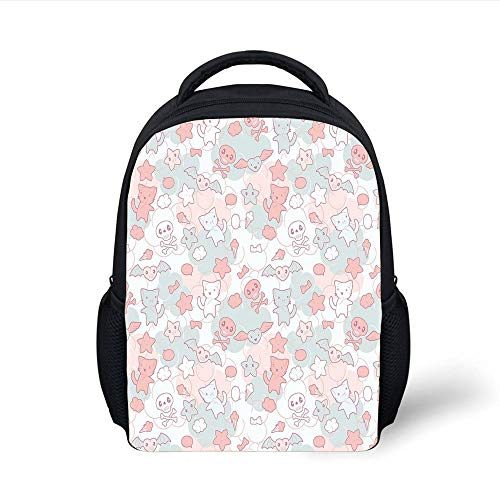 Kids School Backpack Doodle,Cartoon Styled Cute Cats Bats and Skulls Japanese Inspired Kawaii Design Decorative,Light Pink Light Blue Plain Bookbag Travel Daypack Hop-pink Camo