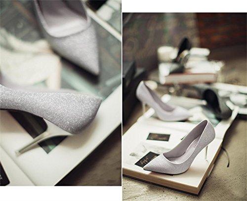 ALUK- Printemps Et Été - Chaussures De Mariage à Talon Pointu Avec La Version Coréenne De Chaussures De Bouche Peau Silver Color