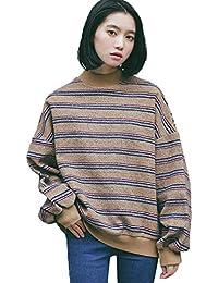 60f7def1b9be JOTHIN Maniche pipistrello Maglioni Half Collo alto Magliette strisce  vintage Pullover Student Basic Felpe Donna
