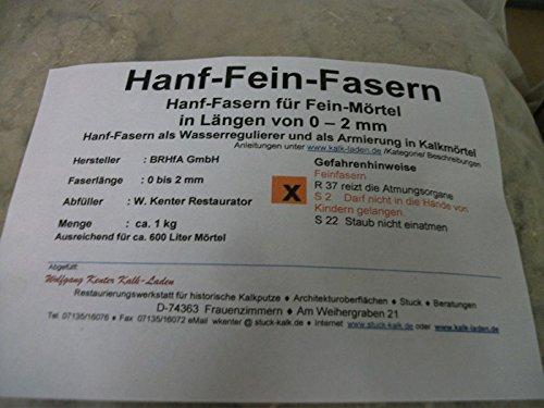 Hanf-Kurz-Fasern 1 Kg(2mm) für Fein-Kalkmörtel