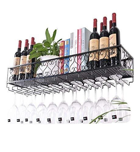 DDZ Portabottiglie da Muro in Metallo |Supporto for Bicchiere da Vino sospeso |Portabottiglie Vintage for Vino |Mobile da Vino Rustico con Parete for Vino (Size : 100×25×17cm)