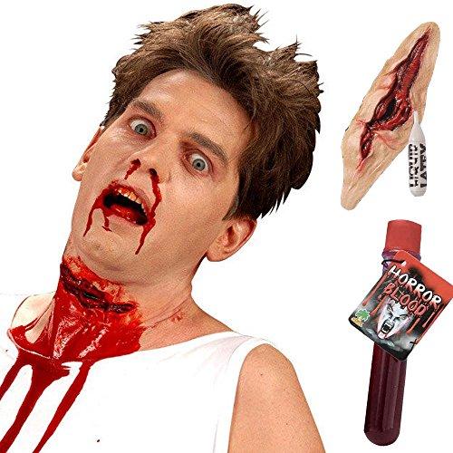 Set aufgeschlitzte Kehle Latex-Applikation 18 cm mit Kleber und Kunstblut Halloween Blut blutig Vampir Zombie Killer (Halloween Kostüme Hollywood)