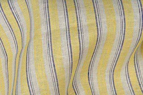 Gelb gestreift Pure 100% Leinen Stoff Meterware–Breite 150cm (149,9cm)–200gsm–Textil (Plaid Leinen Kleid)