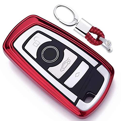Rot Car Keyless Entry Key Cover Fall für BMW 1 3 4 5 6 7 Series BMW X3 X4 X5 X6 M3 M4 M5 M6 Remote Smart 3 4 Buttons, Weiches TPU Schutzhülle mit Schlüssel Kette (Rot-keyless-entry-remote)