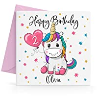 Personalised Girls Unicorn Birthday Card Any Age & Name