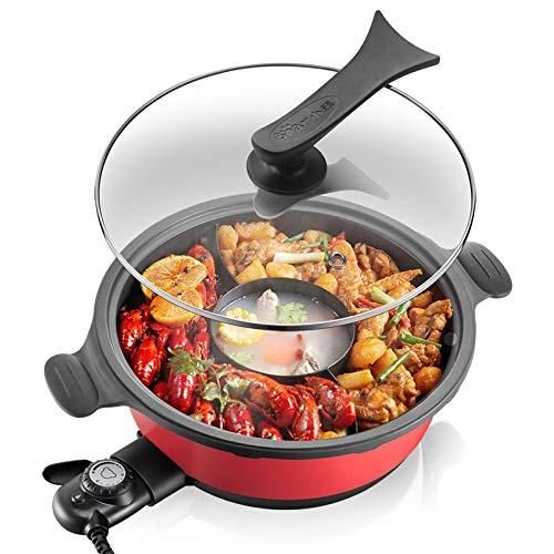 QHYY 220v eléctrico 3 sabores Olla Caliente Olla Lavable Olla máquina de cocinar Utensilios de Cocina...
