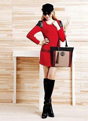 LeahWard® Damen Mode Qualität Herrlich Berühmtheit Groß Tassel Tragetasche Damen Kunstleder Modisch Handtasche CWS00404 Schwarz/nackt