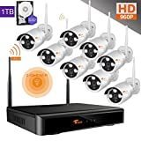CORSEE Plug&Play Video 8 Kanal 960P Funk Überwachungssystem Unterst¨¹tzt Bewegungserkennung,HD 1.3MP WLAN Outdoor Netzwerk Außen IP Überwachungskamera, Kabellos, Handy-View, Bewegungsmelder 1TB Festplatte