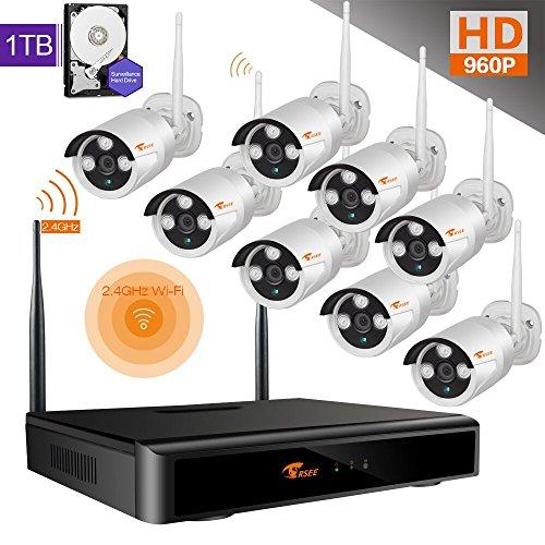 Preisvergleich Produktbild CORSEE 8 Kanal 1080P NVR + 8 WiFi HD 960P Überwachungskameras Set mit Nachsicht, Innen / Außeb Bewegungsmelder Überwachungssystem mit 1TB Festplatte, Wetterfest, Live Video über App