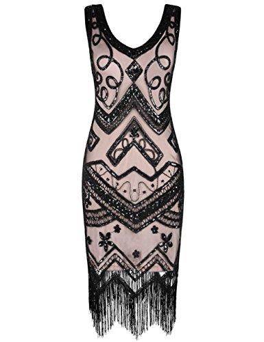kayamiya Damen Flapper Kleider 1920er Jahre V-Ausschnitt Inspiriert Paillette Fransen Großes Gatsby Kleid S Schwarz Beige