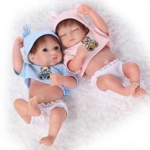 NPKDOLL Réincarné Bébé Poupée Vinyle Silicone Dur 10 Pouces 26Cm Bleu Waterproof Jouet Rose Ours Garçon Fille Reborn Baby Doll A1FR