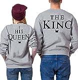 Paar Pullover Pärchen Sweatshirt Langarm Rundhals King und Queen Druck Pullover für Herbst und Frühling (King-M+Queen-S, Grau)