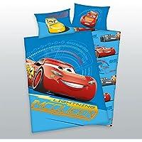3 tlg. Baby Bettwäsche Wende Motiv: Disney Cars 3 - renforcé 100x135 cm + 40x60 cm + 1 Spannbettlaken in weiß 70x140 cm