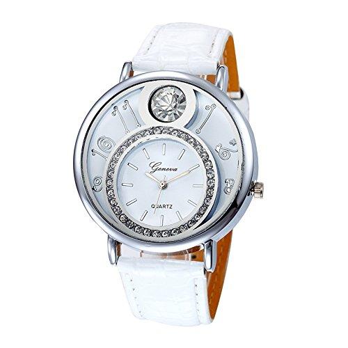 Swallowuk Damen-Diamant-Uhr, Herren Outdoor-Sport-Quarzuhr (Weiß)