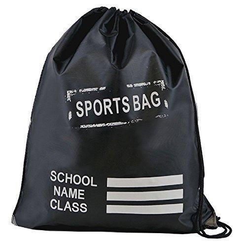 Retro Kordelzug Schule / PE / Schwimmen / Pumps / Trainer / Sport Tasche Schwarz