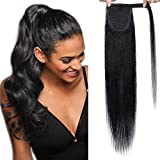 (20'=50cm) Ponytail Extension Naturel Rajout Cheveux Queue de Cheval Extension Noir [Wrap Around Ponytail] [01#Noir Foncé] Sans Shedding/Tangle