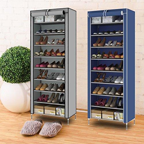 Hehilark 10 Ebenen Schuhregal Schuhständer, Schicht Stabil Schuhschrank Stoff Schuhe Regal Aufbewahrung,Schuhablage für 20 Paar Schuhe (Silbergrau 10Ebenen)