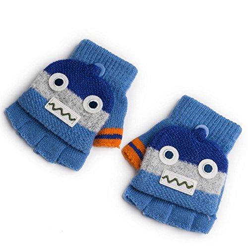 Pormow Pormow Herbst und Winter Warme Schüler Schreiben Handschuhe Baby Handschuhe Kind Gestrickte Fäustlinge,3-6 Jahre alt