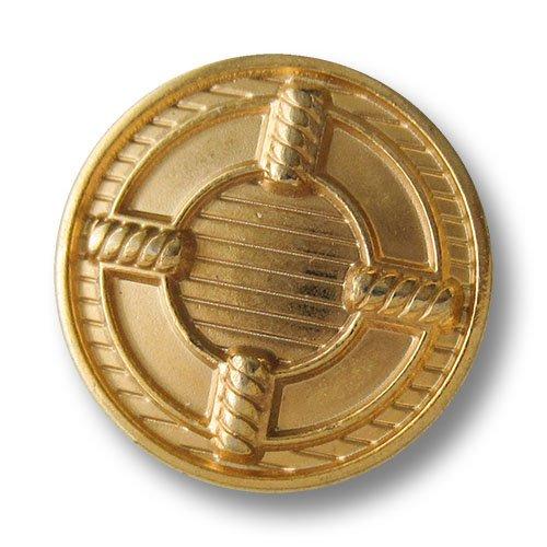 Knopfparadies - 5er Set leicht gewölbte gold schraffierte Ösen Metallknöpfe mit Ring Motiv / Goldfarben glänzend / Metall Knöpfe / Ø ca. 20mm
