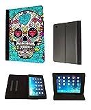 Sugar Skull Skulls Multi tattoo diamond eye full Design Apple iPad 5 iPad Air Full Case Flip Cover-Black
