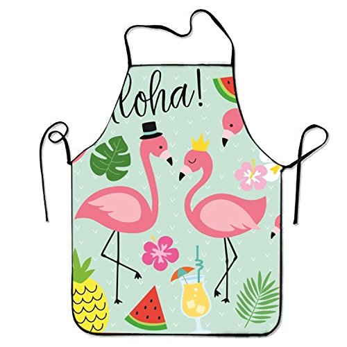 Fs2A1X Aloha Flamingo Pineapple Watermelon Coconut Adjustable Aprons for Adult
